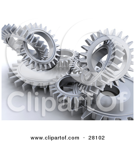 Clipart Illustration of Clustered Silver Cogs and Gears Working in.
