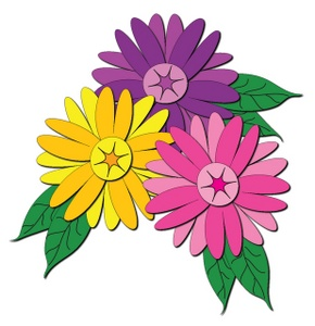 Cluster of flowers clip art.