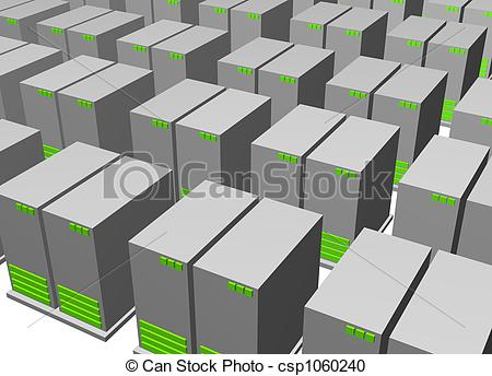 Stock Illustration of Server Clusters For Data Warehousing Clip.