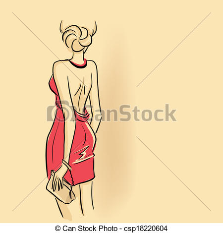 Vector Clipart of Glamour lady with clutch.