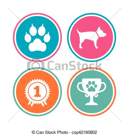 Vector Clipart of Pets icons. Cat paw with clutches sign. Winner.