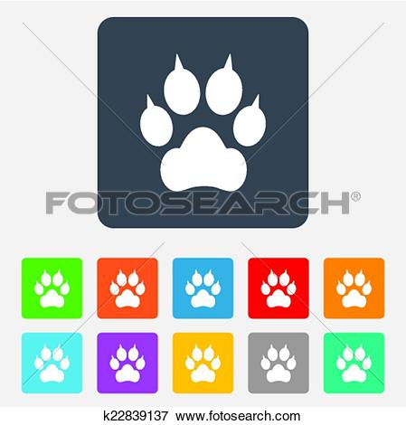 Clip Art of Dog paw with clutches sign icon. Pets symbol.