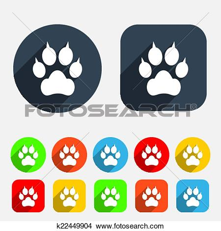 Clipart of Dog paw with clutches sign icon. Pets symbol. k22449904.