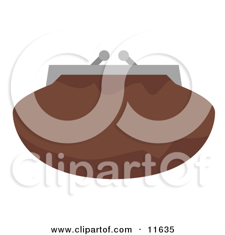 Brown Clutch Bag Purse With a Snap Close Clipart Picture by.