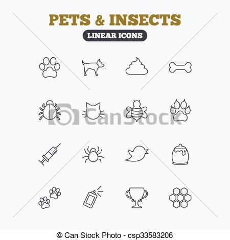 Vector Clipart of Pets and Insect icon. Dog, Cat paw with clutches.