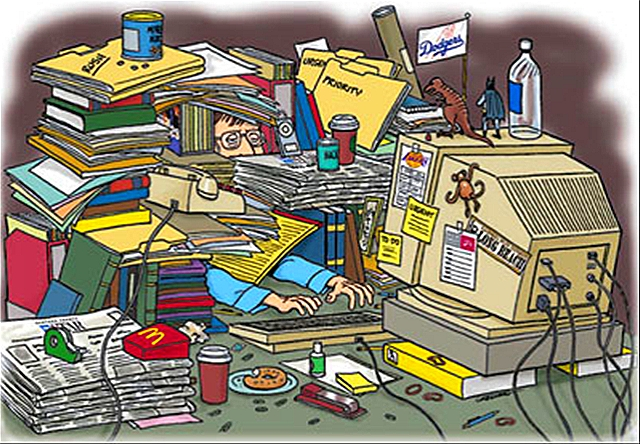 Cluttered desk clipart.
