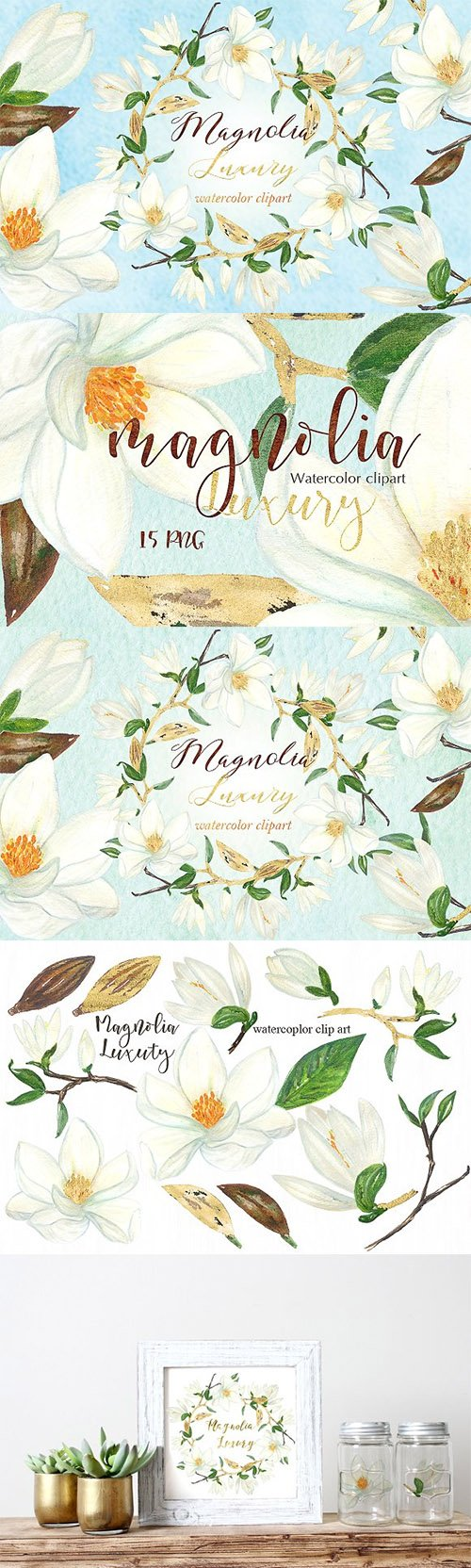 Magnolia white luxury clipart.