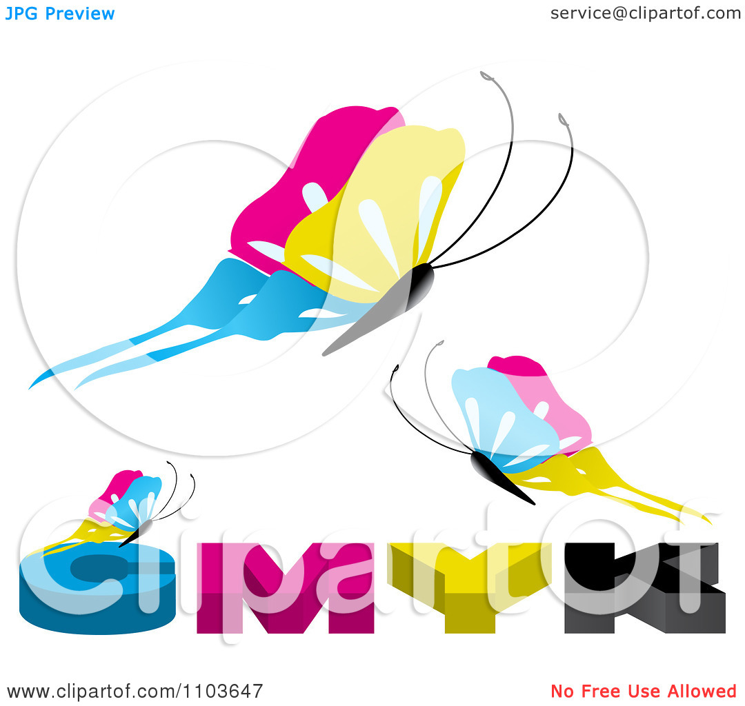 Clipart CMYK Butterflies On White.