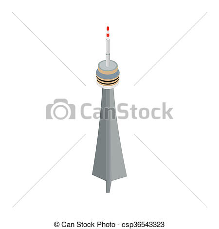Clip Art of The CN Tower, Toronto icon in isometric 3d style.