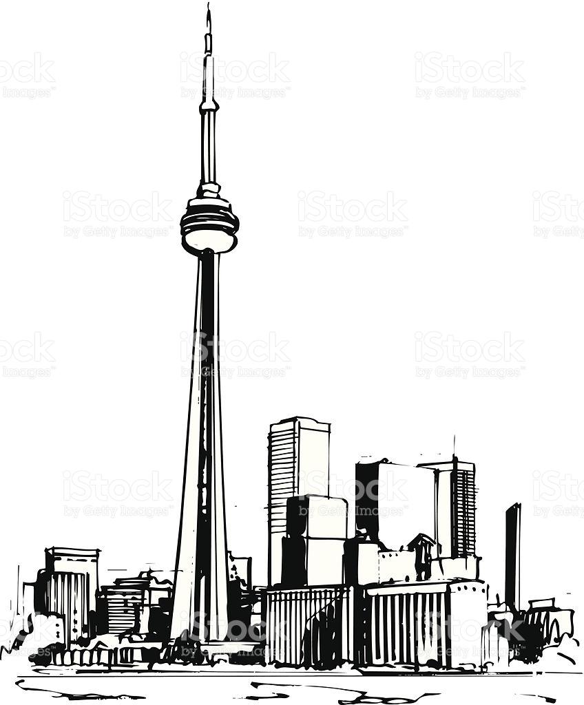 Toronto Cn Tower Vector Cartoon Clipart stock vector art 505655023.