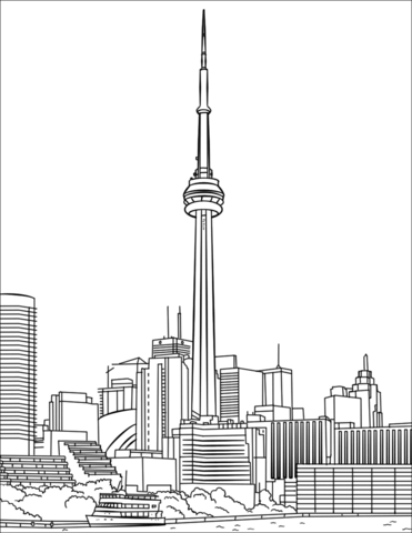 Toronto CN Tower coloring page.