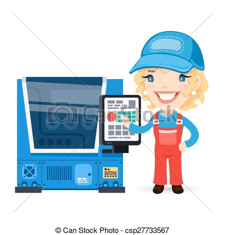 Clip Art Vector of Female Factory Worker is Setting Up CNC Machine.