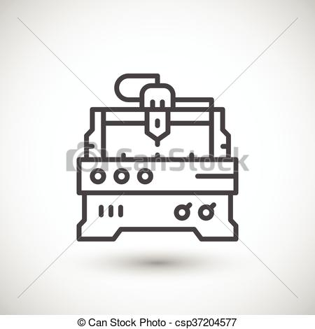 Vectors Illustration of Cnc milling machine line icon isolated on.
