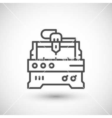 Cnc milling machine line icon vector by motorama.