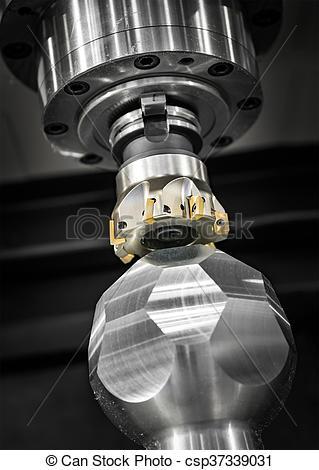 Drawings of Metalworking CNC milling machine. Cutting metal modern.