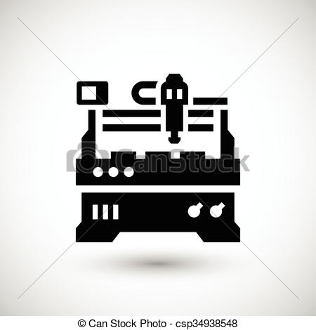EPS Vector of Cnc milling machine icon isolated on grey. Vector.