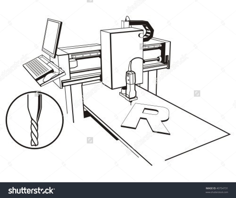 Cnc Millingengraving Machine Vector Illustration Stock Vector.