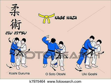 Jiu Jitsu Nage Waza 1 Color Clipart.