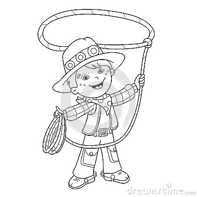 Coloring Page Outline Of Cartoon Cowboy With Lasso Stock Vector.