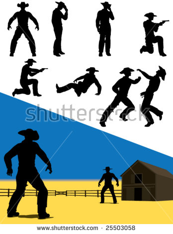 Cowboy Silhouette Stock Images, Royalty.