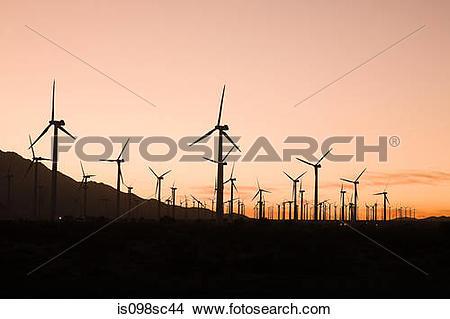 Stock Photo of Wind farm in coachella valley california is098sc44.