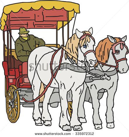 Vector Horse Cart Coachman Hand Drawn Stock Vector 335972312.