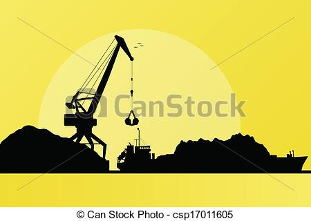 Vector Clipart of Freight ship in harbor, coal loading with crane.