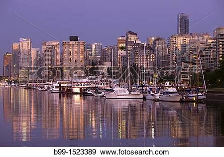Stock Photograph of COAL HARBOUR FROM STANLEY PARK DOWNTOWN.