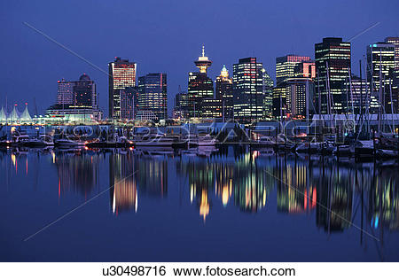 Stock Images of view of downtown and canada place from Coal.