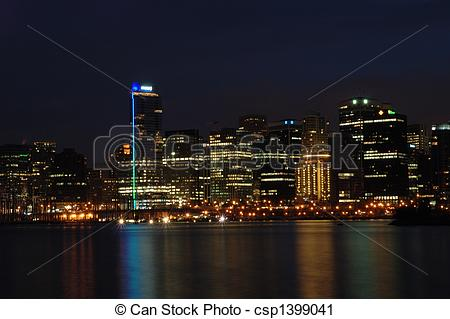 Stock Photography of Coal Harbor At Night.