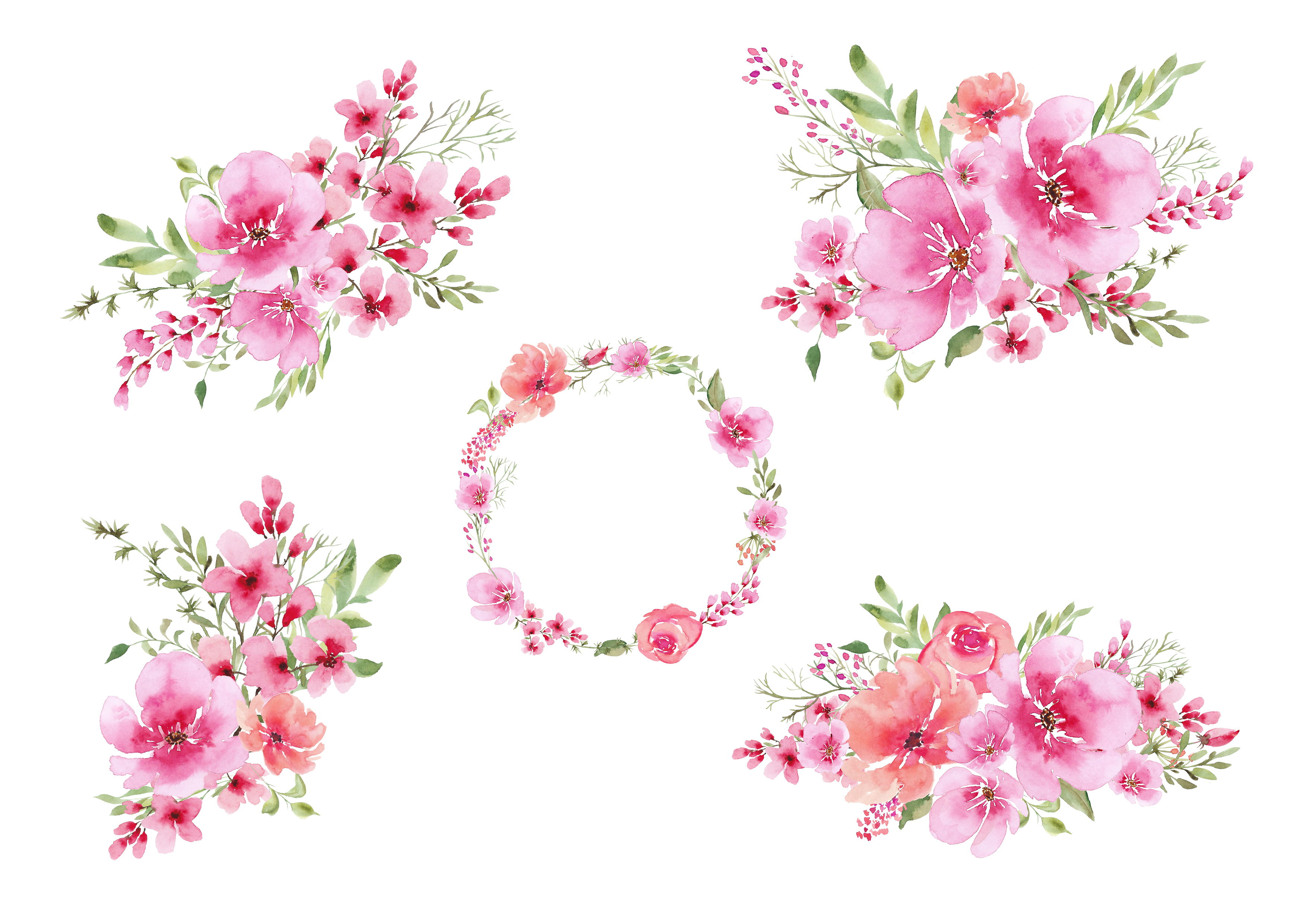 Watercolour clipart, Pink flowers and greenery bouquets, wreath, Wedding  flowers..
