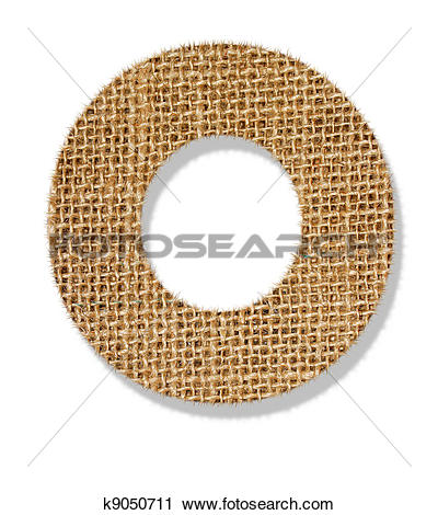 """Stock Photography of The letter """"O"""" is made of coarse cloth."""