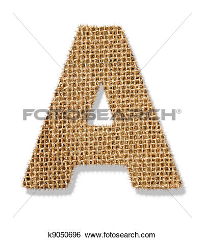 """Stock Images of The letter """"A"""" is made of coarse cloth. k9050696."""