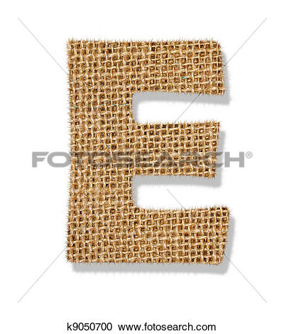 """Stock Photography of The letter """"E"""" is made of coarse cloth."""