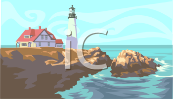 Royalty Free Clipart Image: Lighthouse and House on Headlines.