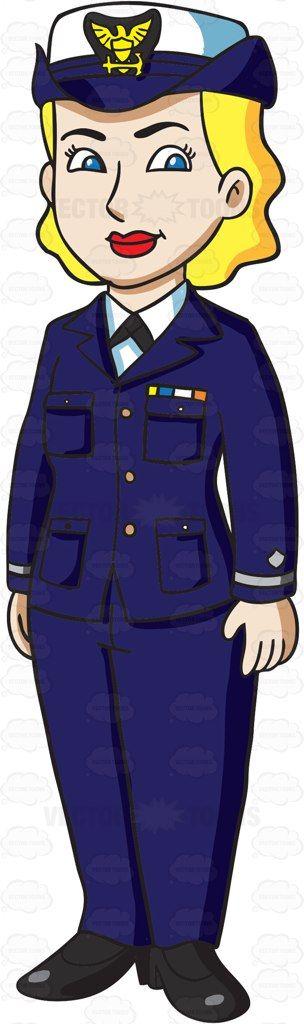 A Female Us Coast Guard In Service Dress Blues.