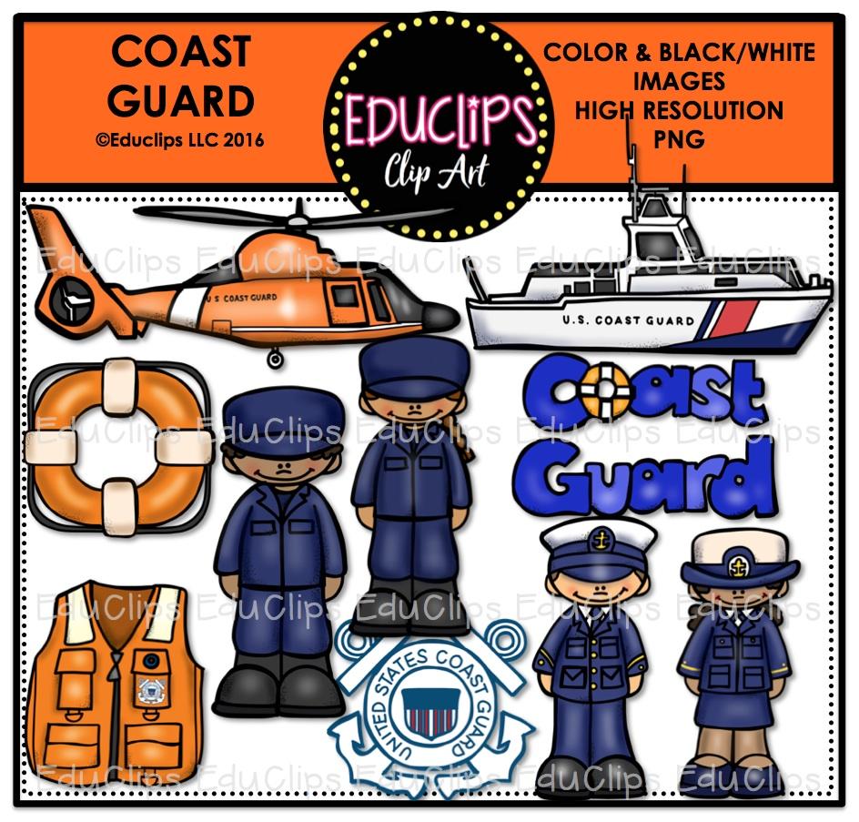 Coast Guard Clip Art Bundle (Color & B&W).