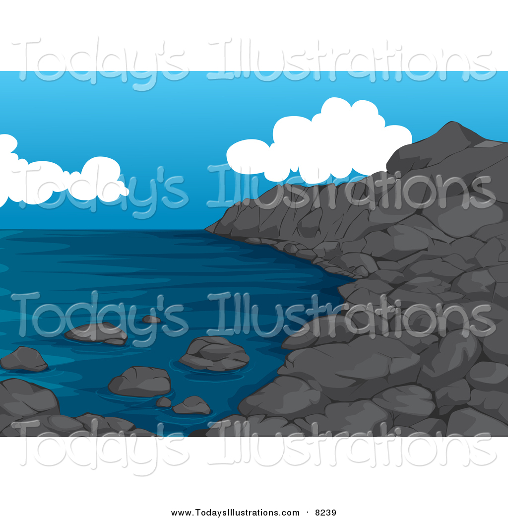 Clipart of a Rocky Beach Coastline by colematt.