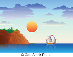 Sunset ocean beach water sun boat scene landscape vector.