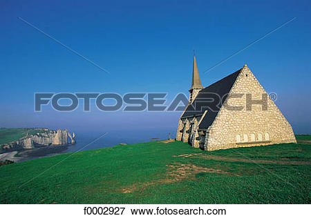 Picture of church, Christian architecture, cliff, coastal.