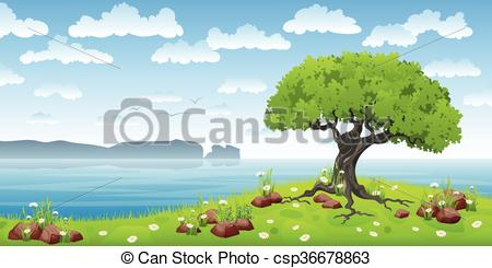 Clip Art Vector of Coastal landscape with tree and flowers.