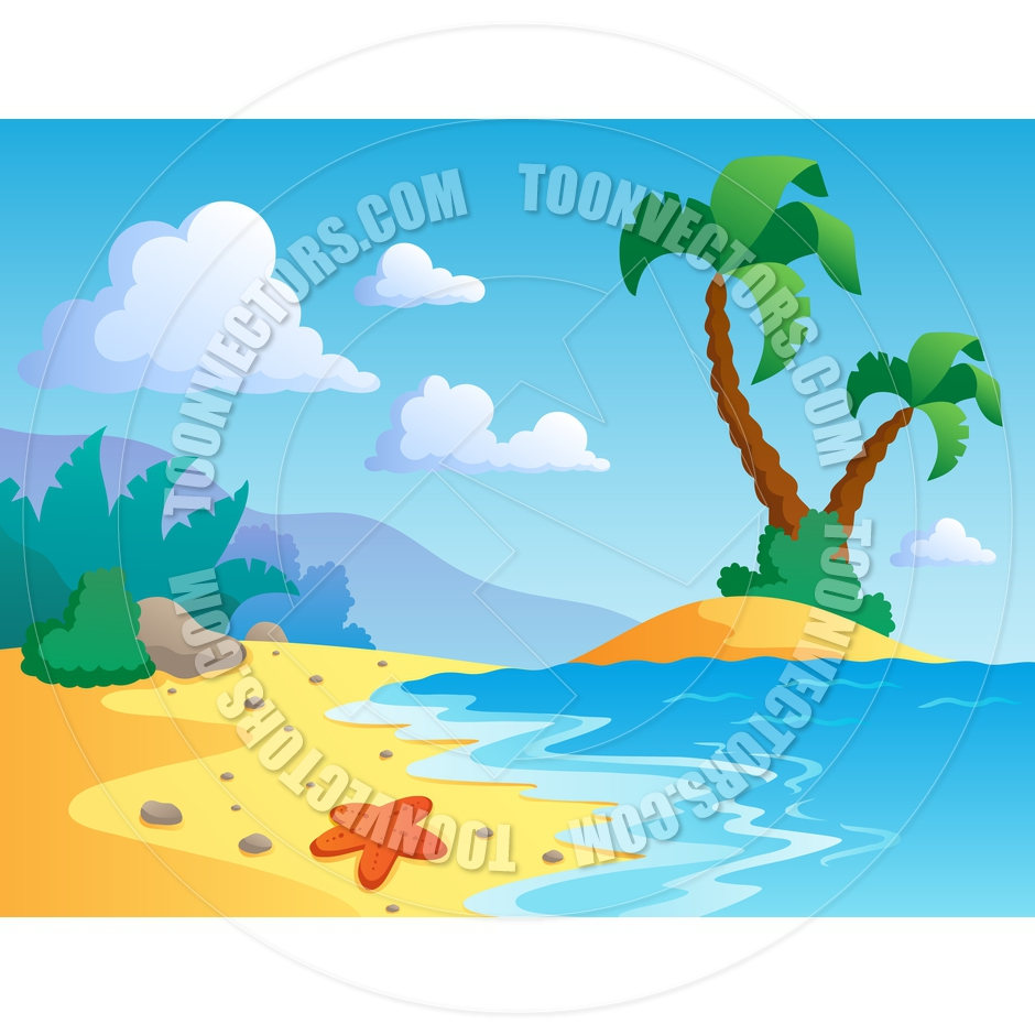 Cartoon Beach Theme Landscape Scene by clairev.