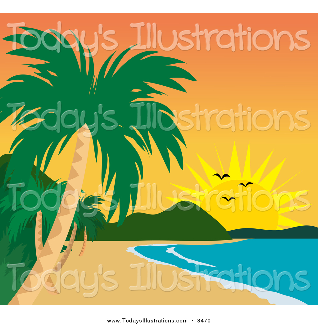 Clipart of a Tropical Beach Coastline and Sunset by Rosie Piter.