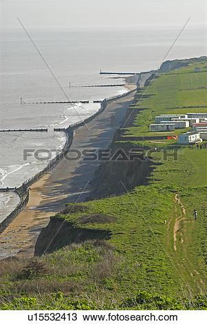 Stock Photo of England, Norfolk, . North Norfolk coastal cliffs.