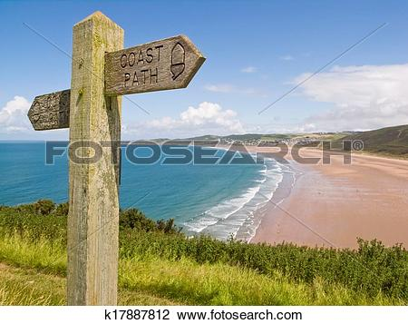 Stock Photo of Coastal path, Woolacombe, Devon k17887812.