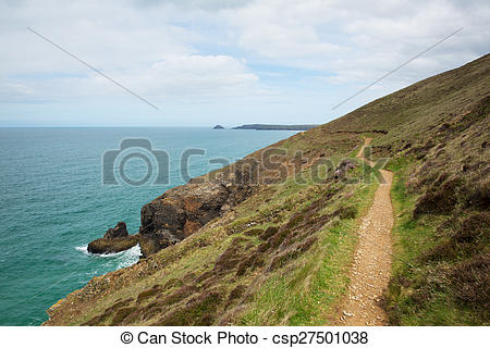 Stock Photos of South West Coast Path Perranporth.