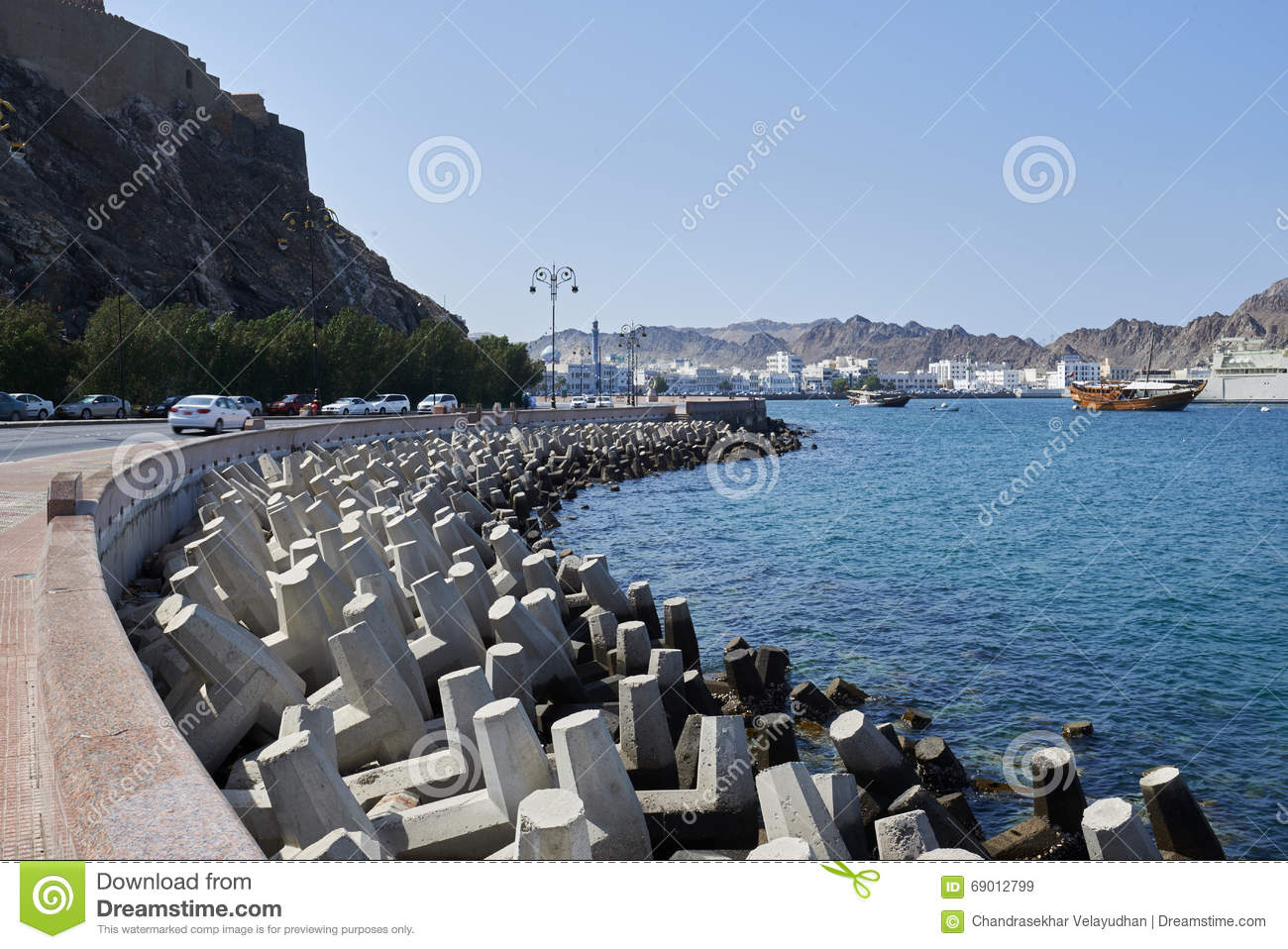 Concrete Tetrapods Used For Coastal Protection Stock Photo.