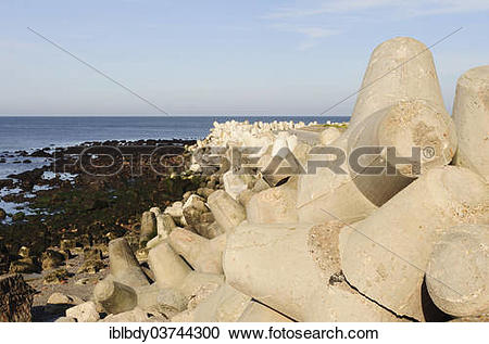 Stock Photography of Coastal protection, stacked layers of.