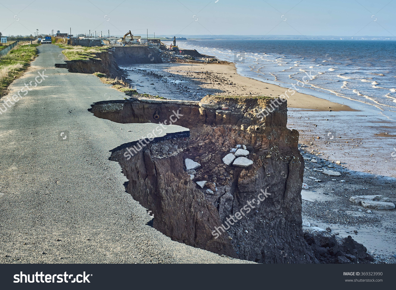 Coastal Erosion Cliffs Skipsea Yorkshire On Stock Photo 369323990.