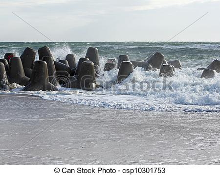Stock Images of Mighty tetrapods, made of concrete, protect the.